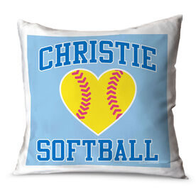 Softball Throw Pillow Personalized Softball Heart