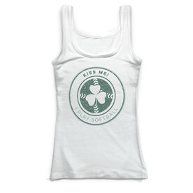 Softball Vintage Fitted Tank Top - Clover Distressed