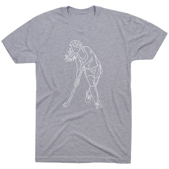 Field Hockey Short Sleeve T-Shirt - Field Hockey Player Sketch