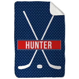 Hockey Sherpa Fleece Blanket - Personalized Crossed Sticks With Stripe