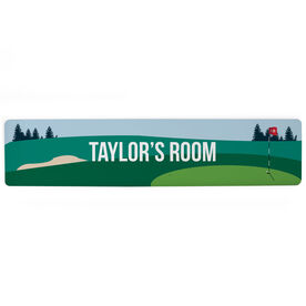 "Golf Aluminum Room Sign - Personalized Course Room (4""x18"")"