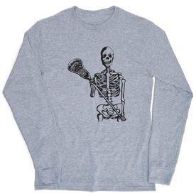 Guys Lacrosse Tshirt Long Sleeve - Skeleton (Black)