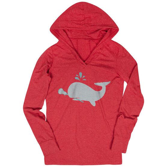 Girls Lacrosse Lightweight Performance Hoodie - Chevron Lax Whale