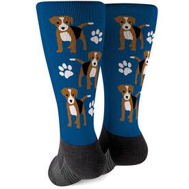 Printed Mid-Calf Socks - Beagle