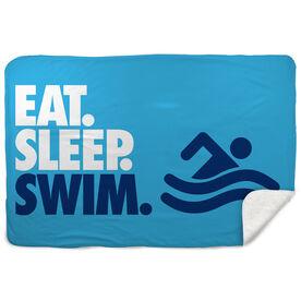 Swimming Sherpa Fleece Blanket - Eat. Sleep. Swim. Horizontal