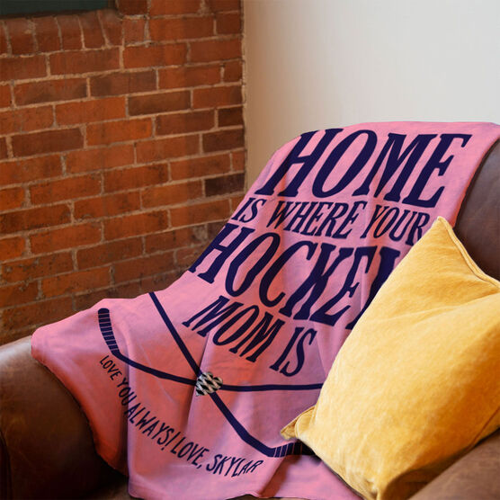Hockey Premium Blanket - Home Is Where Your Hockey Mom Is