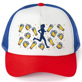 Running Trucker Hat - Beer Glasses Female Runner