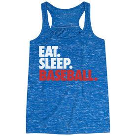 Baseball Flowy Racerback Tank Top - Eat Sleep Baseball (Bold Text)