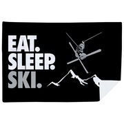 Skiing Premium Blanket - Eat. Sleep. Ski. Horizontal