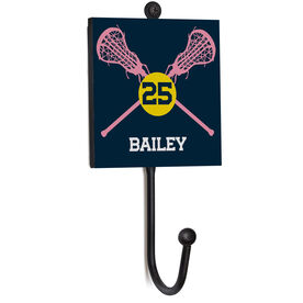 Girls Lacrosse Medal Hook - Lacrosse Crossed Sticks With Name And Number