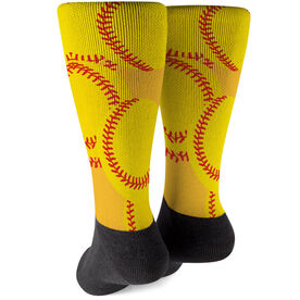 Softball Printed Mid-Calf Socks - Softballs All Over