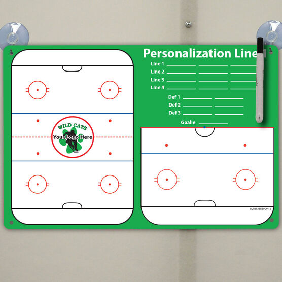 "Hockey Custom Dry Erase Coach Board Full And Half Rink With Roster - 18"" X 12"""