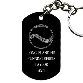 Engraved Personalized Baseball Dog Tag Keychain