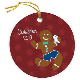Rugby Porcelain Ornament Gingerbread Man