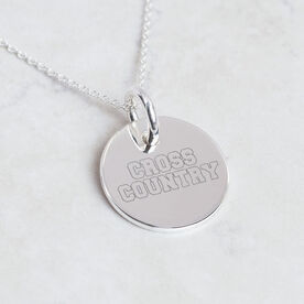 Sterling Silver Cross Country Engraved 20mm Pendant Necklace