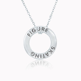 Sterling Silver Figure Skating Message Ring Necklace