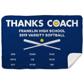 Softball Sherpa Fleece Blanket - Thanks Coach (Horizontal)