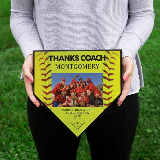 Softball Home Plate Plaque - Thank You Coach Photo