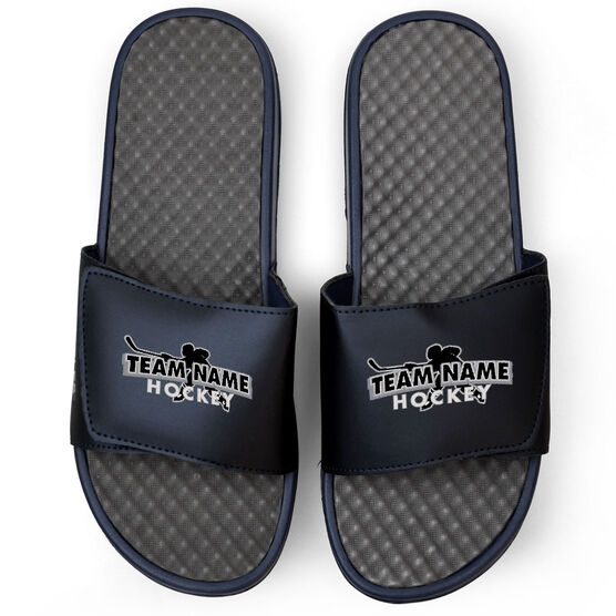 Hockey Navy Slide Sandals - Your Team Name