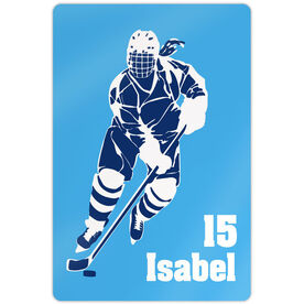 "Hockey Aluminum Room Sign (18""x12"") Personalized Girl Hockey Silhouette"