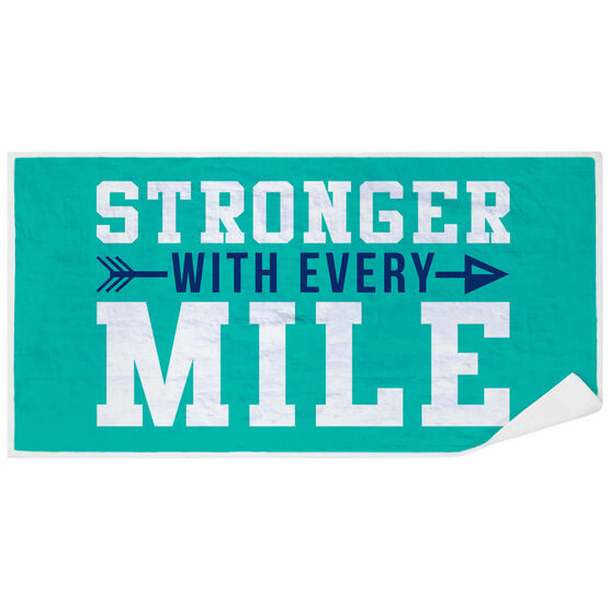 Running Premium Beach Towel - Stronger With Every Mile