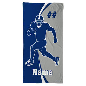 Football Beach Towel Personalized Player Silhouette