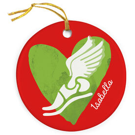 Track and Field Porcelain Ornament Watercolor Heart Winged Foot