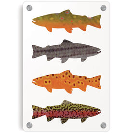 Fly Fishing Metal Wall Art Panel - Fish Patterns