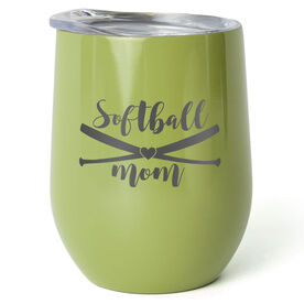 Softball Stainless Steel Wine Tumbler - Softball Mom