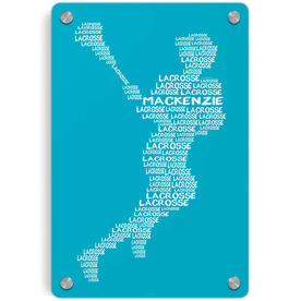 Girls Lacrosse Metal Wall Art Panel - Personalized Words Girl