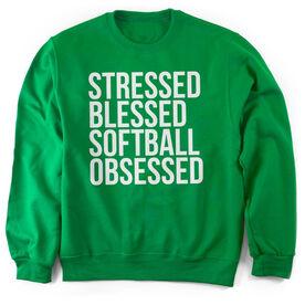 Softball Crew Neck Sweatshirt - Stressed Blessed Softball Obsessed