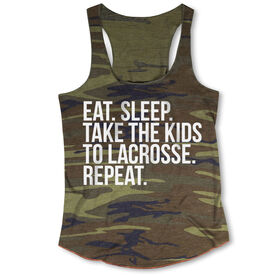 Lacrosse Camouflage Racerback Tank Top - Eat Sleep Take The Kids To Lacrosse