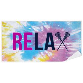 Girls Lacrosse Premium Beach Towel - Relax Tie-Dye