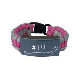Hockey Paracord Engraved Bracelet - Single Stick With 1 Line/Pink