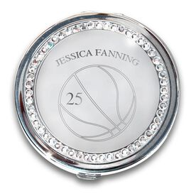 Silver Personalized Basketball Compact Mirror