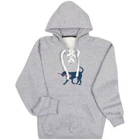 Girls Lacrosse Sport Lace Sweatshirt LuLa the Lax Dog(Blue)