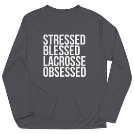 Lacrosse Long Sleeve Performance Tee - Stressed Blessed Lacrosse Obsessed