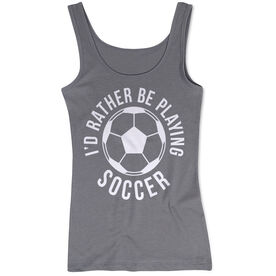Soccer Women's Athletic Tank Top -  I'd Rather Be Playing Soccer (Round)