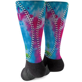 Softball Printed Mid-Calf Socks - Tie Dye Stitches
