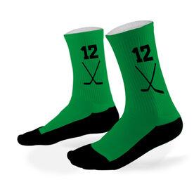 Hockey Printed Mid Calf Socks Hockey Stick Team Colors