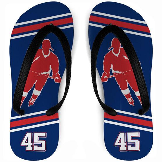 Hockey Flip Flops Personalized Rink Turn