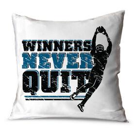 """Football Throw Pillow 15"""" x 15"""" Football Pillow Winners Never Quit"""
