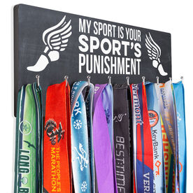 Track And Field Hooked on Medals Hanger - My Sport Is Your Sport's Punishment