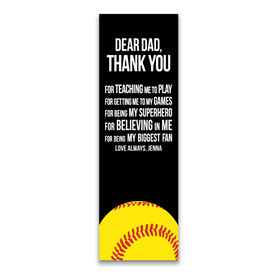 "Softball 12.5"" X 4"" Removable Wall Tile - Dear Dad (Vertical)"
