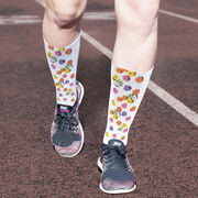 Running Printed Mid-Calf Socks - Candy Hearts Run