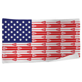 Guys Lacrosse Beach Towel USA Stick Flag