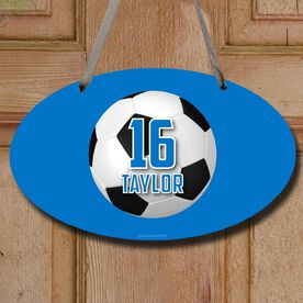 Soccer Oval Sign Personalized Big Number with Soccer Ball