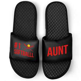 Softball Black Slide Sandals - #1 Softball Aunt