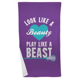 Girls Lacrosse Beach Towel Look Like A Beauty Play Like A Beast