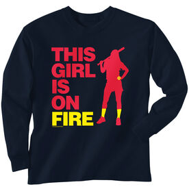 Softball Tshirt Long Sleeve This Girl Is On Fire Batter